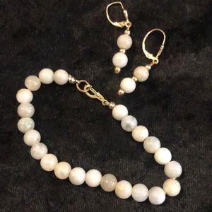 Jadeite bracelet and Earrings Set